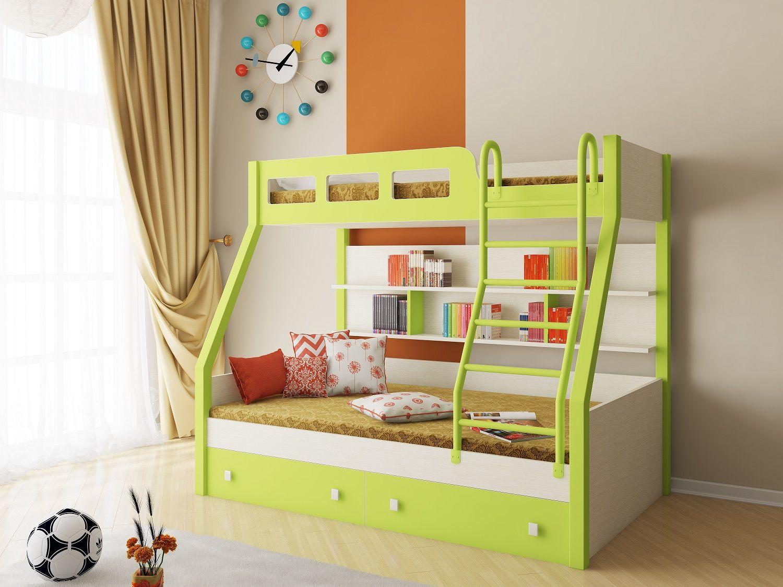 Салатово-белая двухъярусная кровать для детской