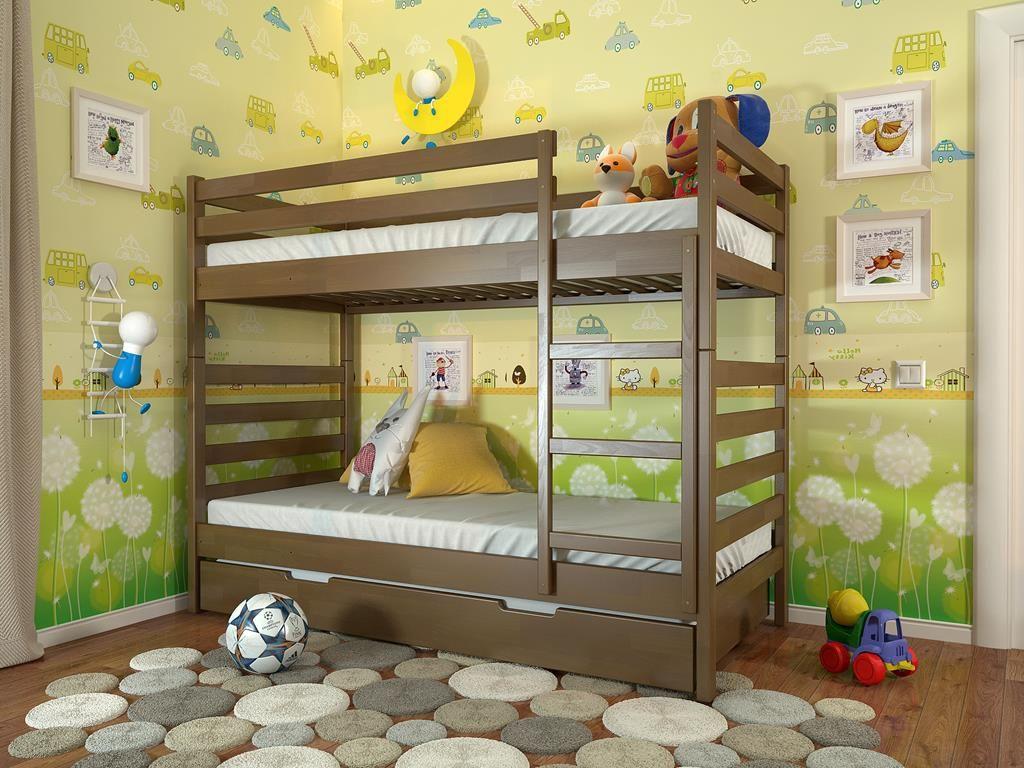 Коричневая двухъярусная кровать для двух детей