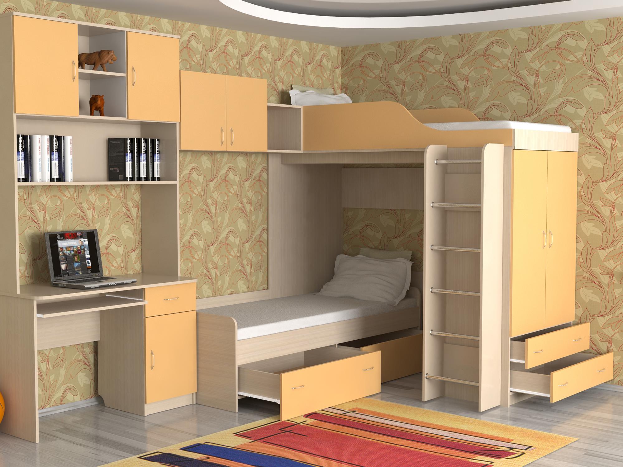 Бежево-персиковая двухъярусная кровать для двух детей