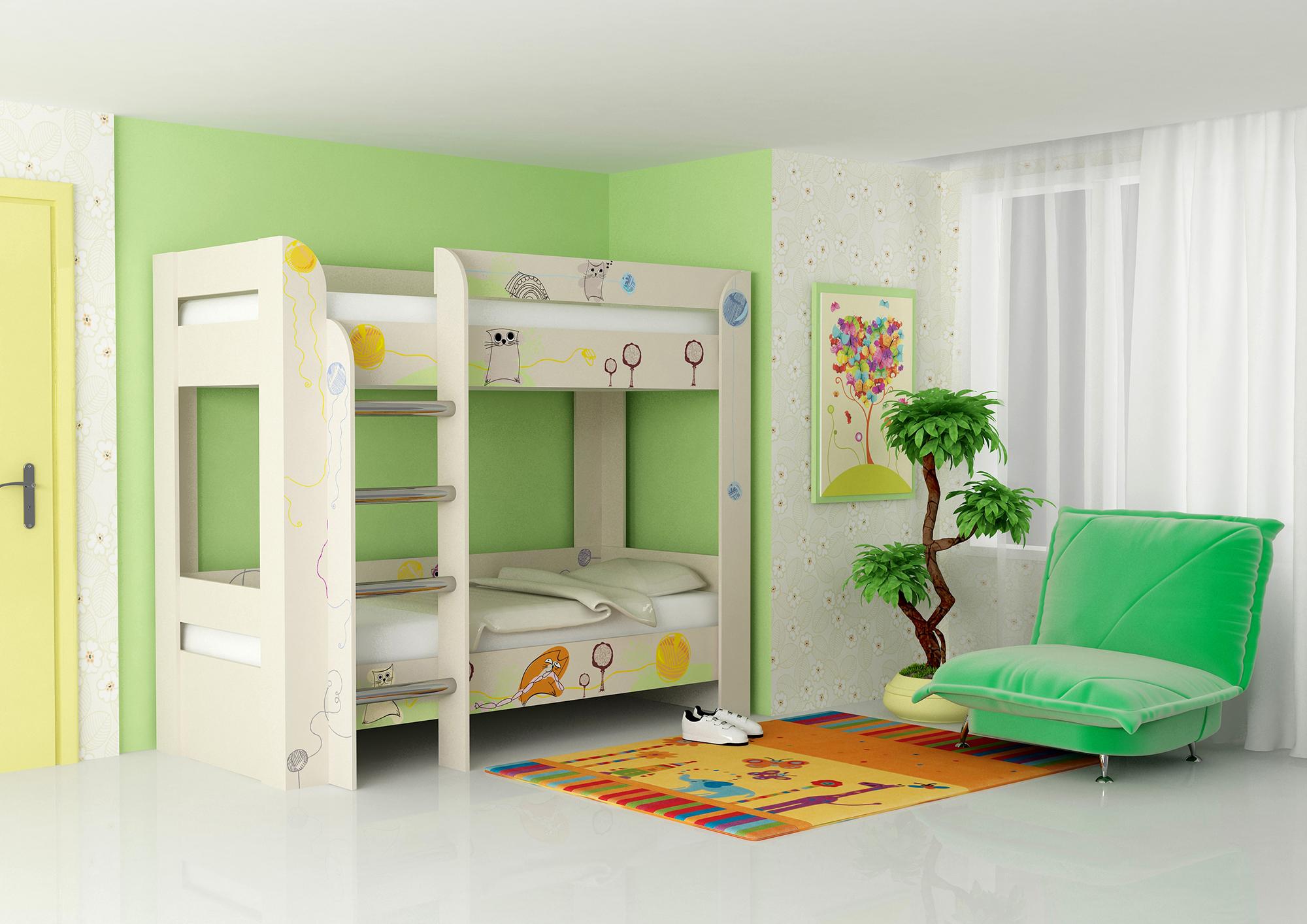 Белая двухъярусная кровать с рисунками