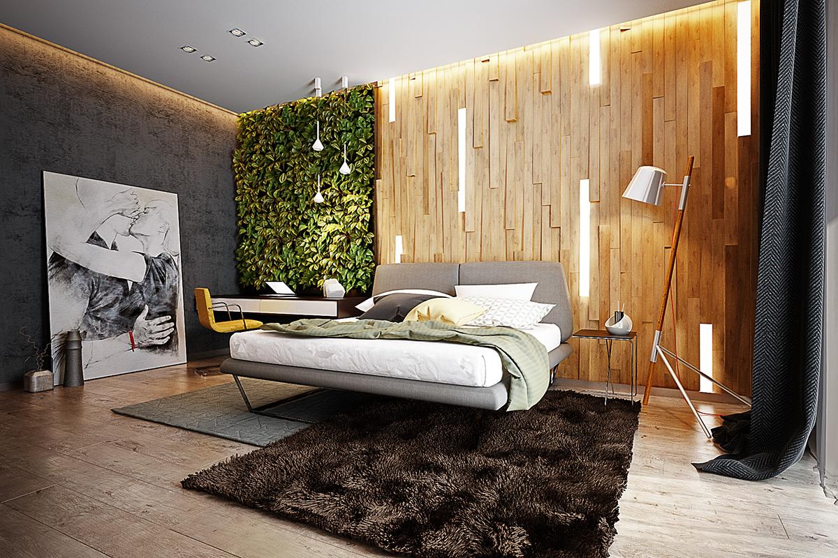 Спальня в эко стиле с отделкой деревом и живыми растениями