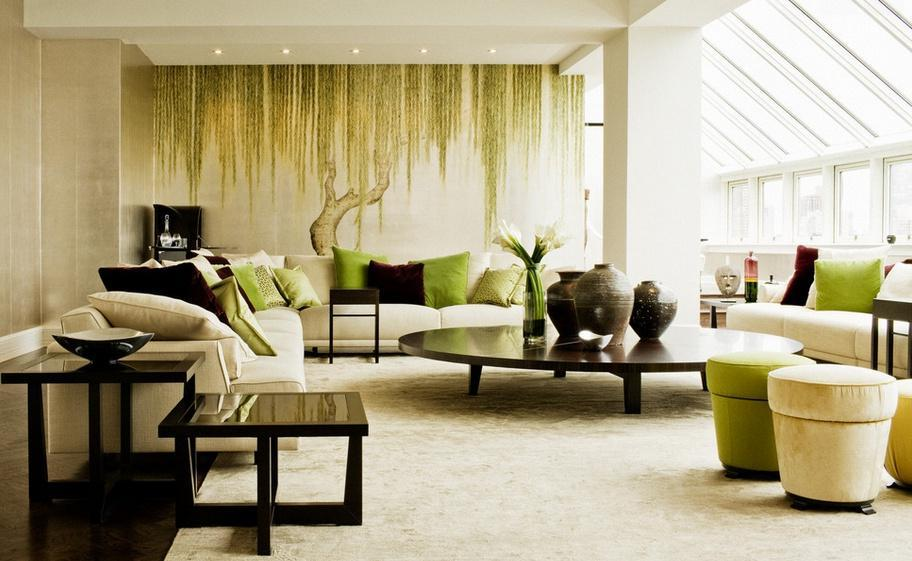 Гостиная в зелено-бежевых тонах