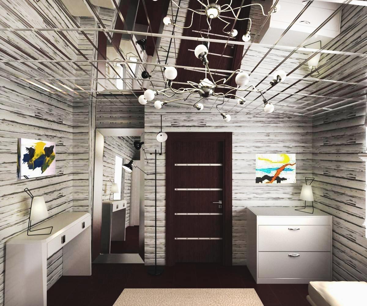 Комната с деревянной отделкой и зеркальным потолком