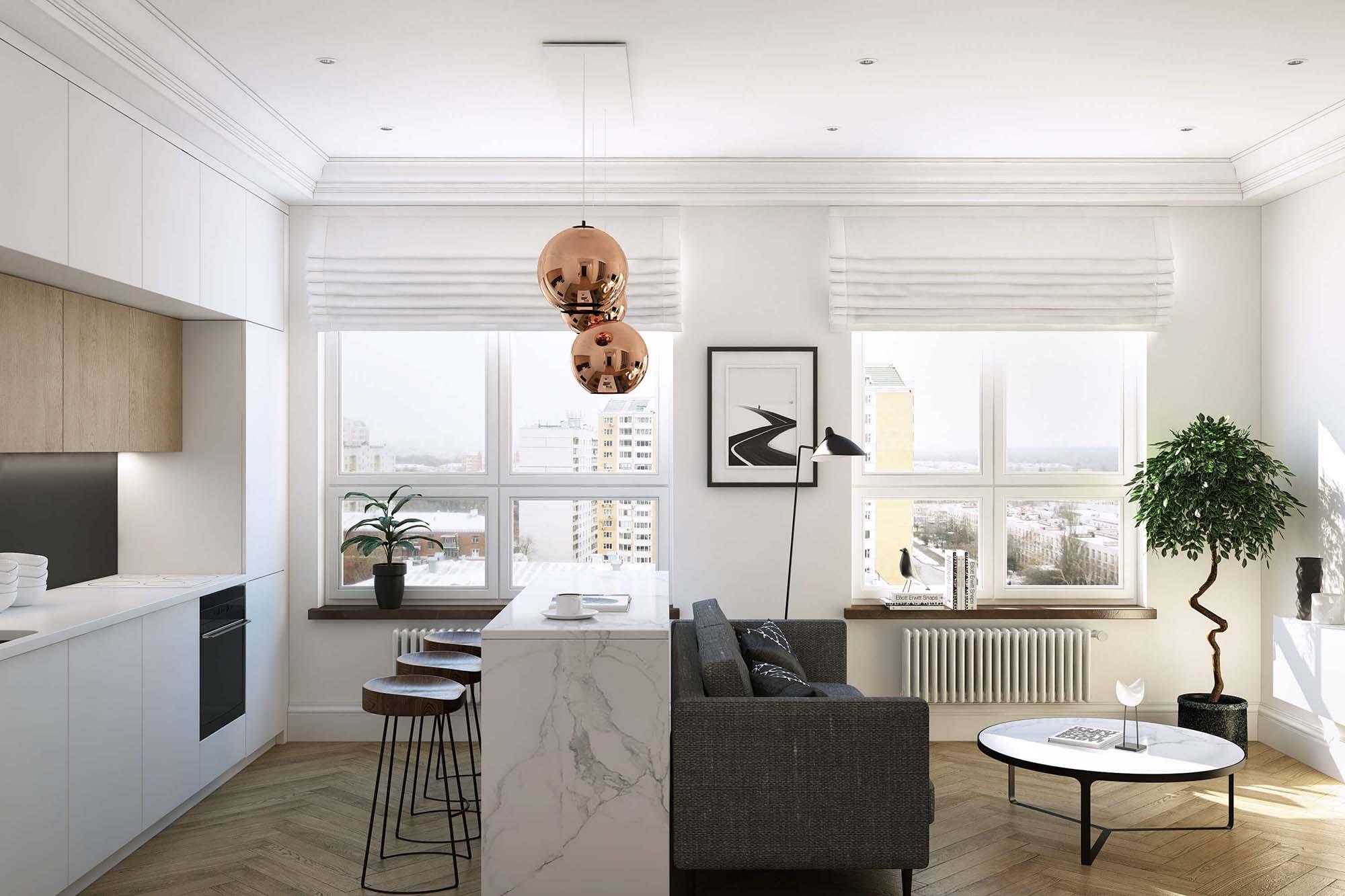 Маленькое пространство квартиры в эко-стиле