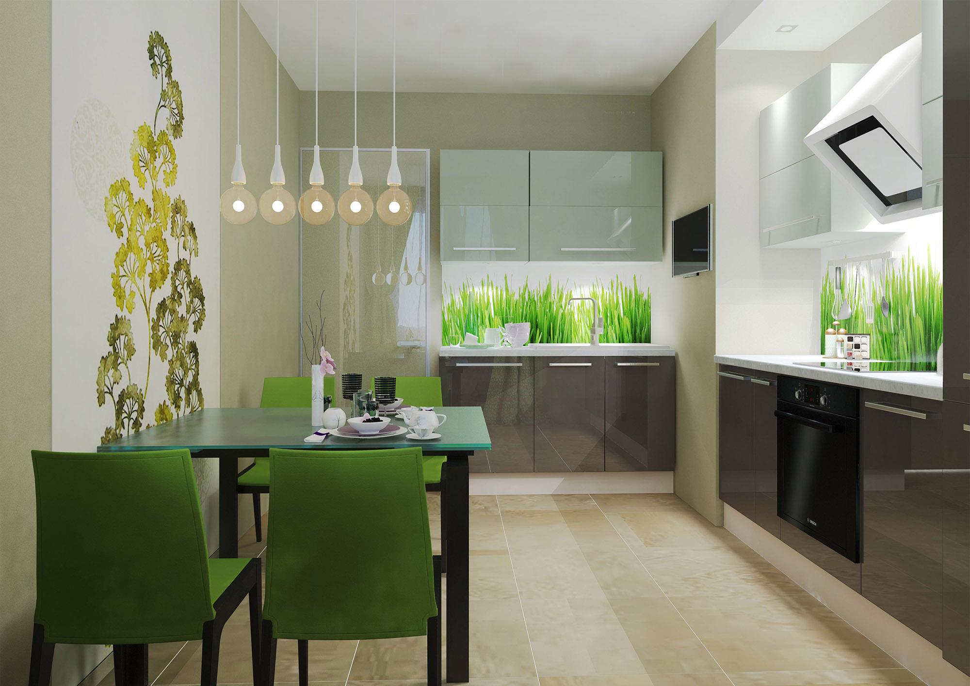Интерьер небольшой кухни в эко-стиле
