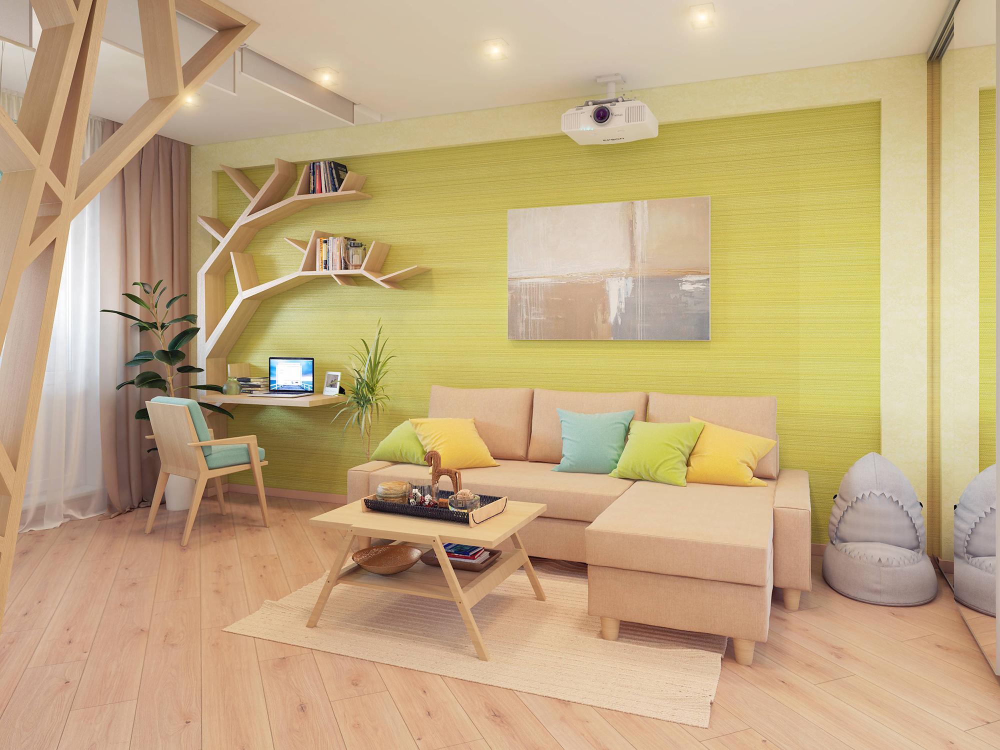 Небольшая гостиная в эко-стиле