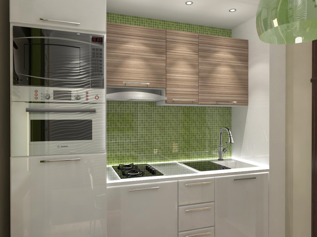 Небольшая кухня с зеленым фартуком из мозаики в эко-стиле