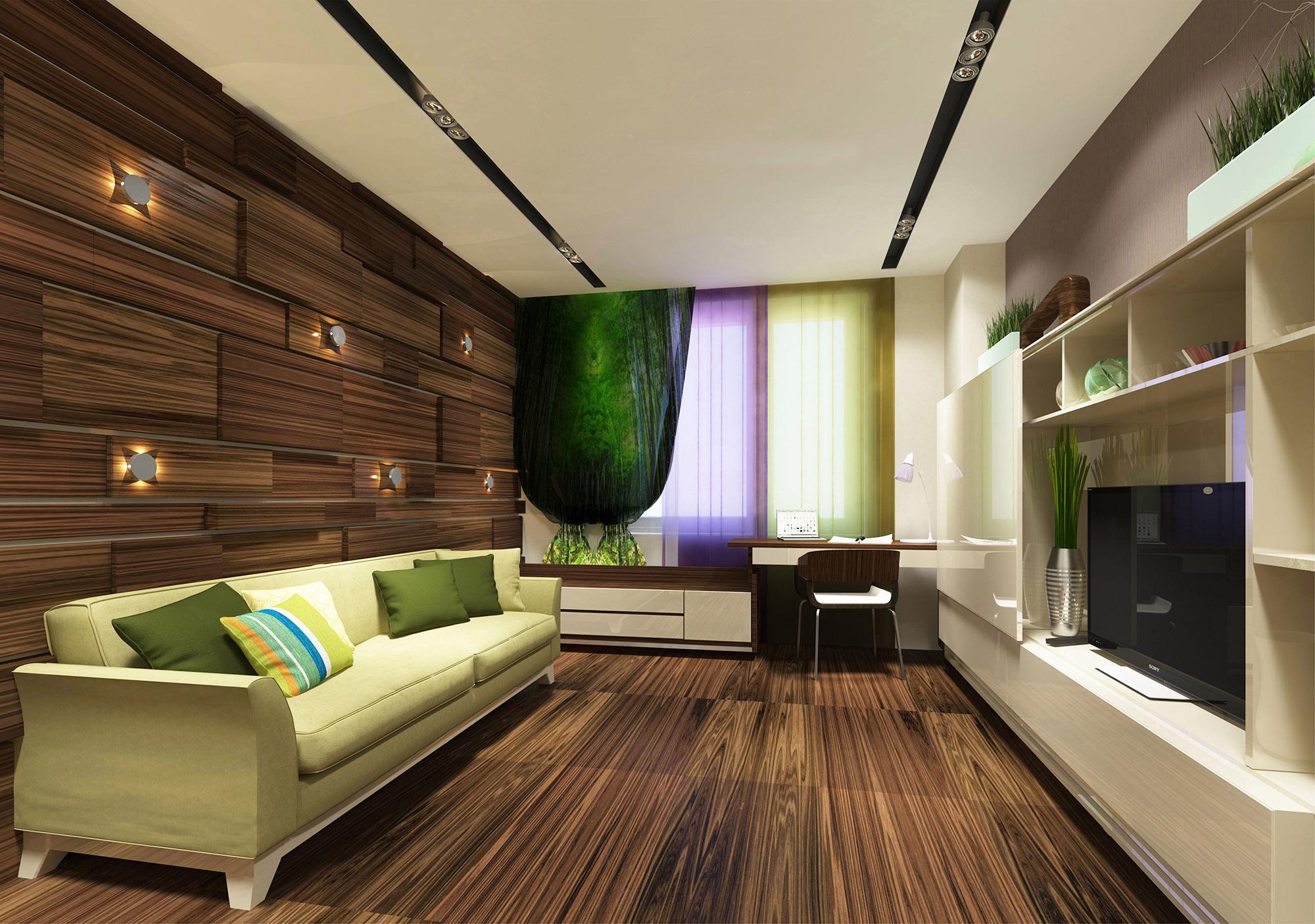 Проект гостиной в эко-стиле