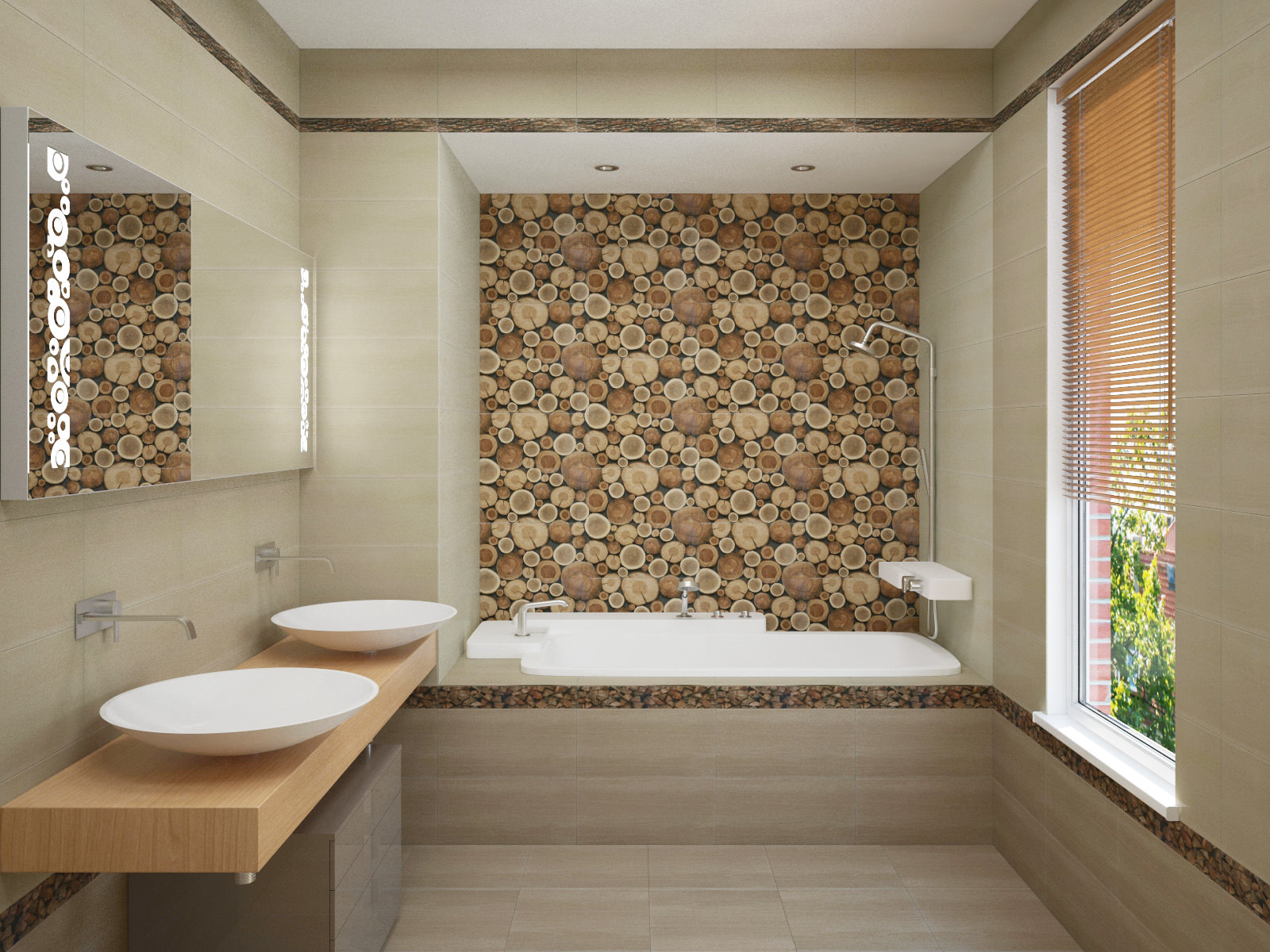 Небольшая ванная в эко-стиле