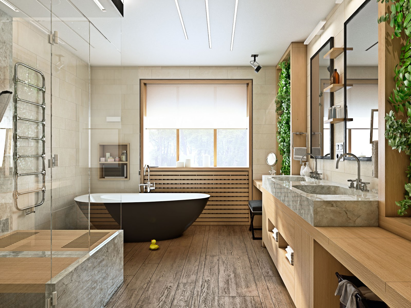 Ванная комната с живыми растениями в эко-стиле