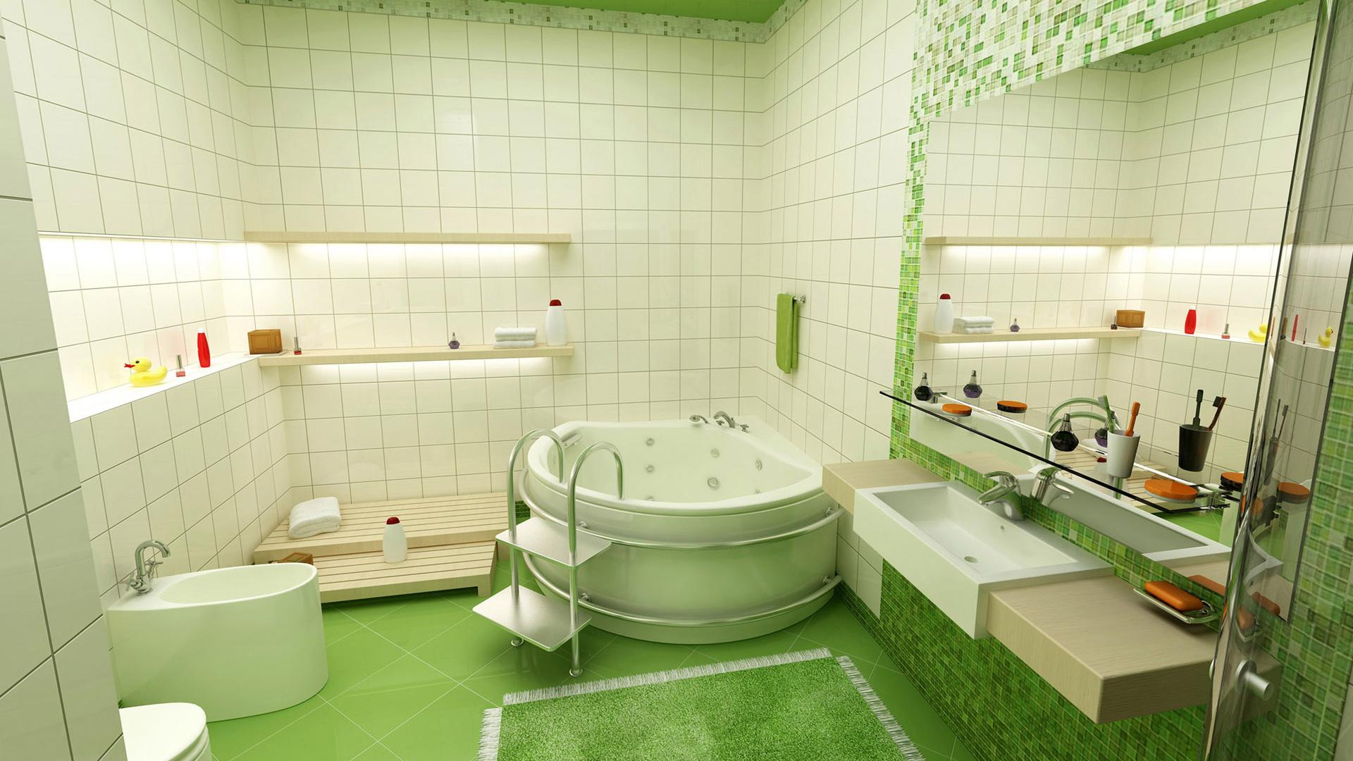 Ванная с зеленой мозаикой в эко-стиле