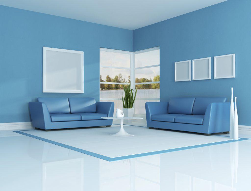 Проект гостиной в голубых тонах
