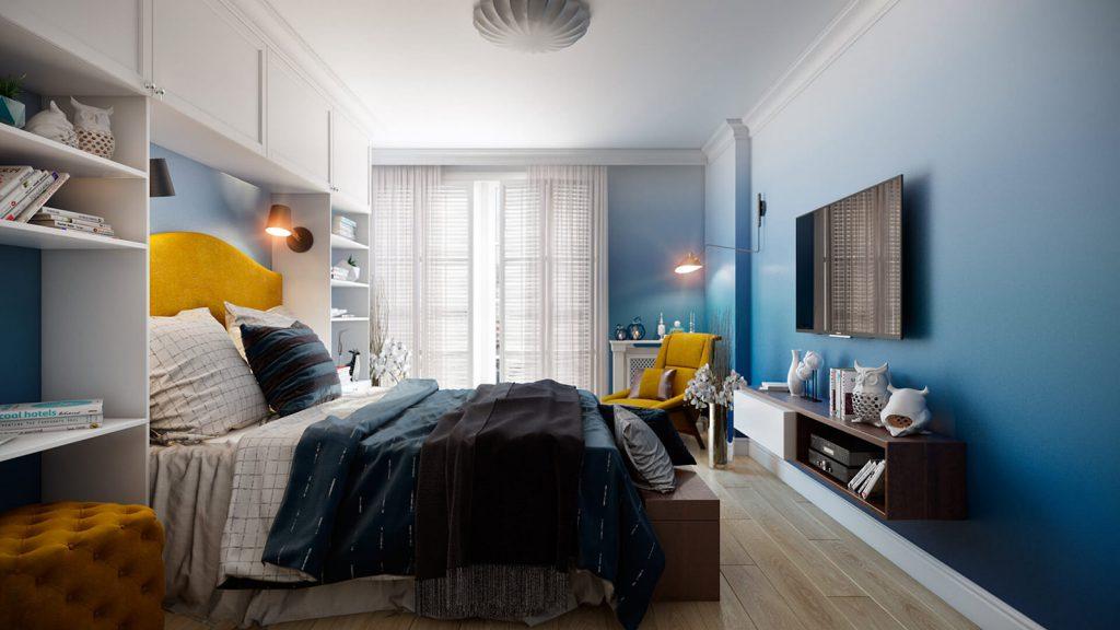 Градиентные стены с переходом от синего к белому в спальне