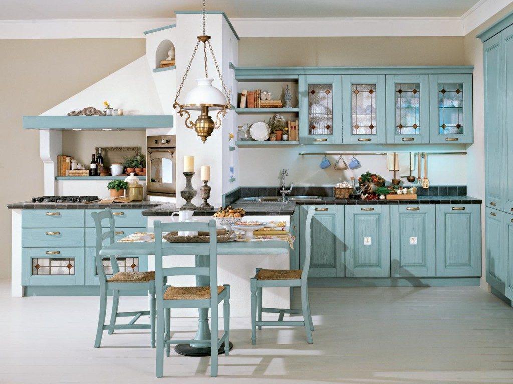 Голубой гарнитур в интерьере кухне
