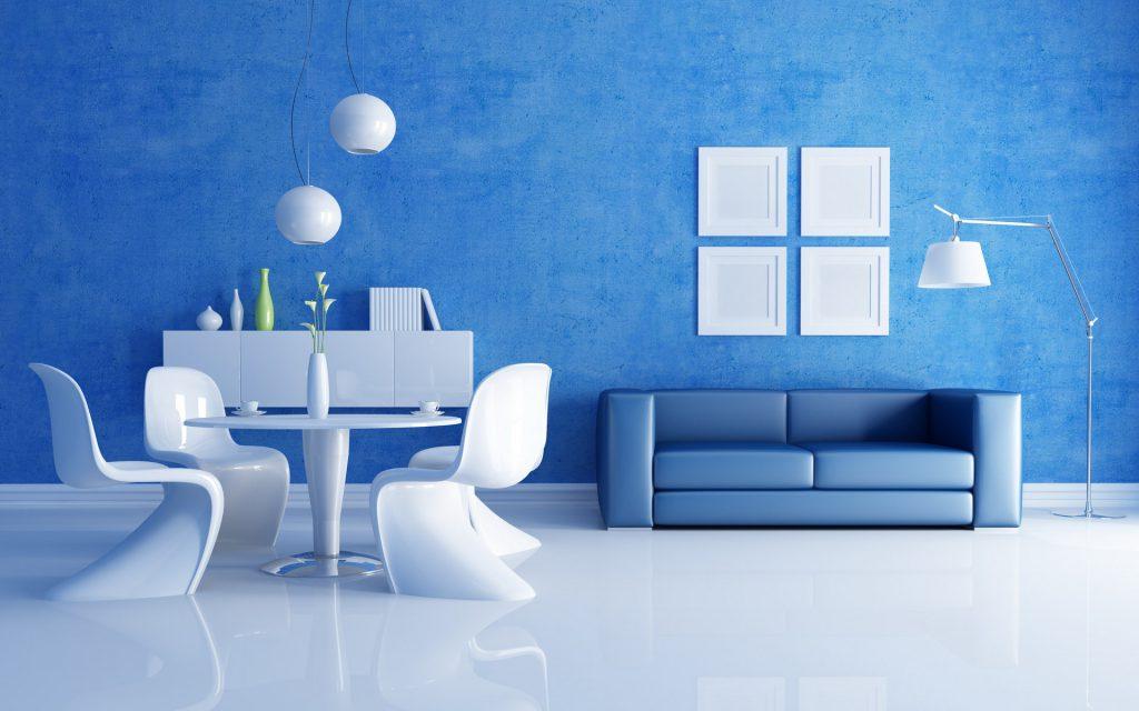 Белый, голубой и синий цвета в интерьере гостиной