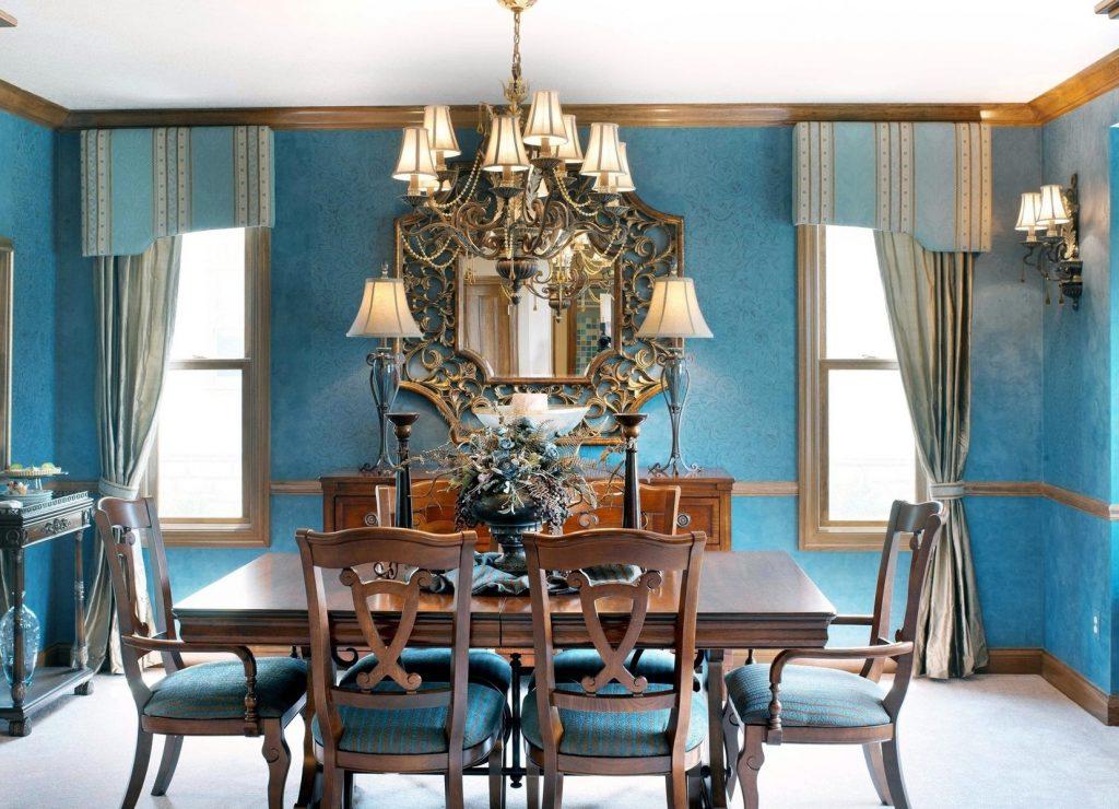Коричнево-голубая столовая комната