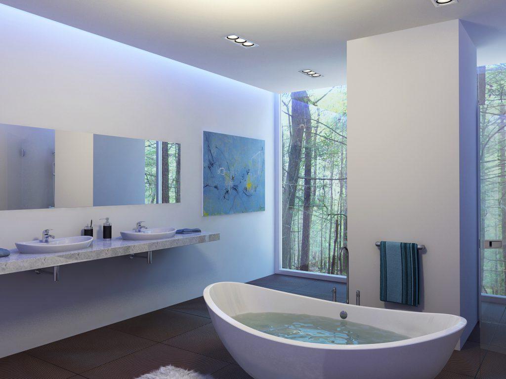Картина в голубых тонах в ванной