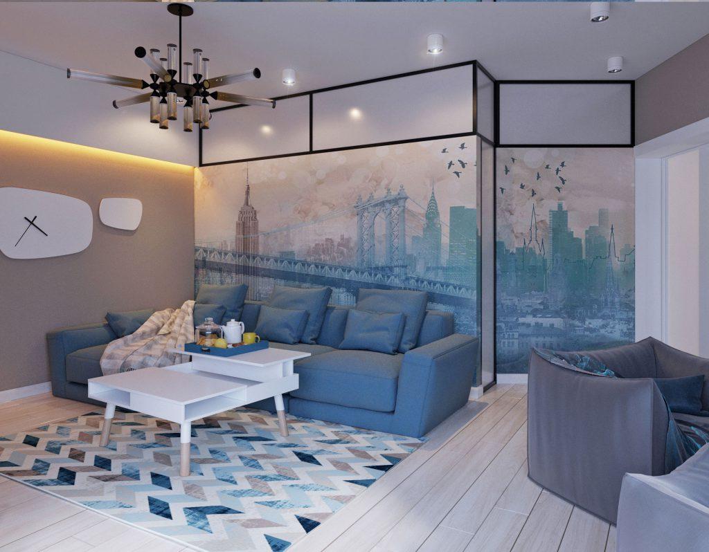 Гостиная с голубыми элементами интерьера