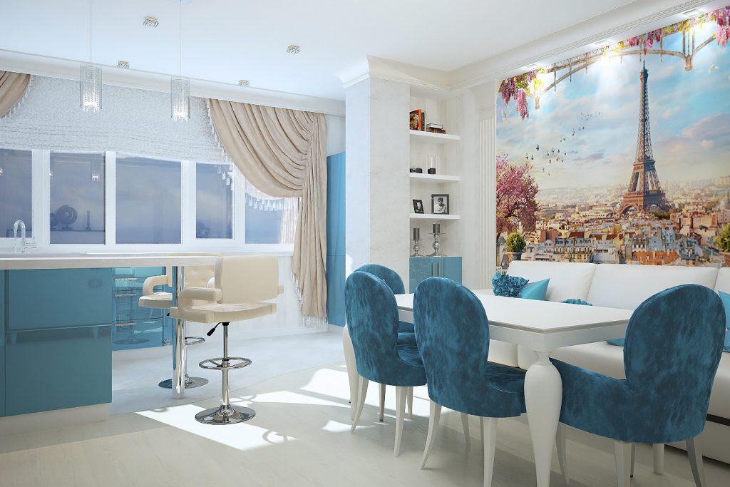 Кухня с голубыми элементами