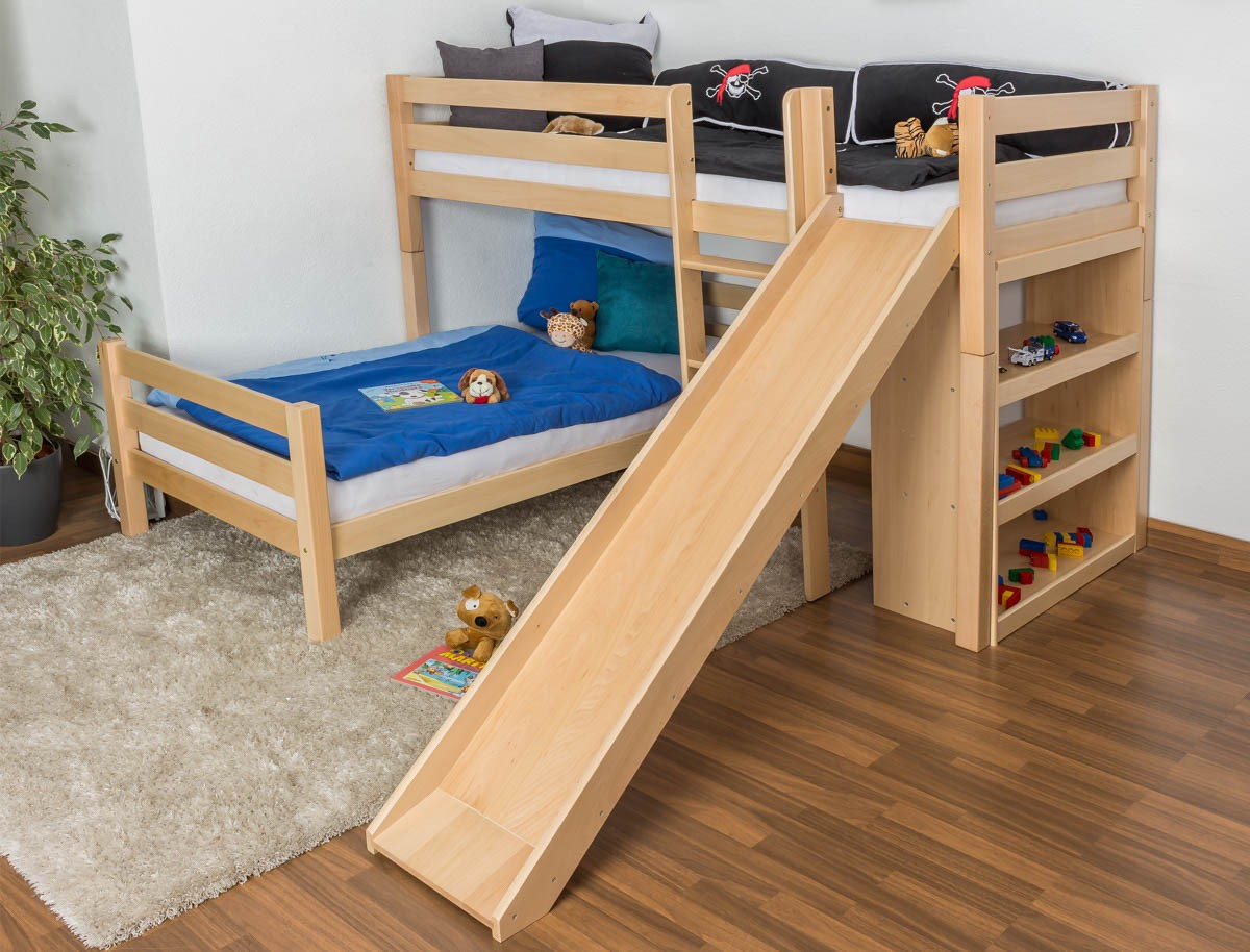Двухъярусная детская кровать с горкой