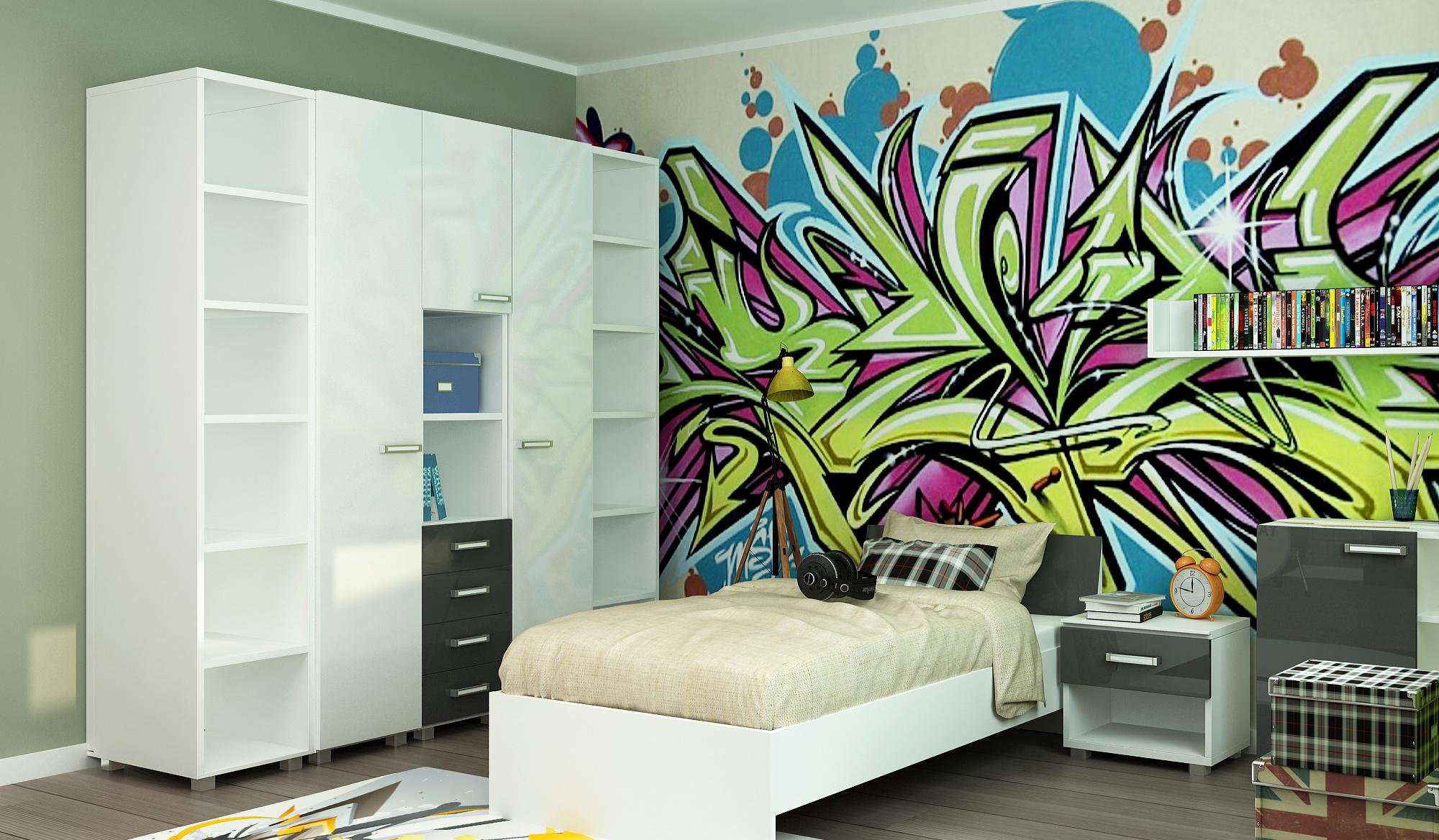 Яркое граффити в комнате для подростка