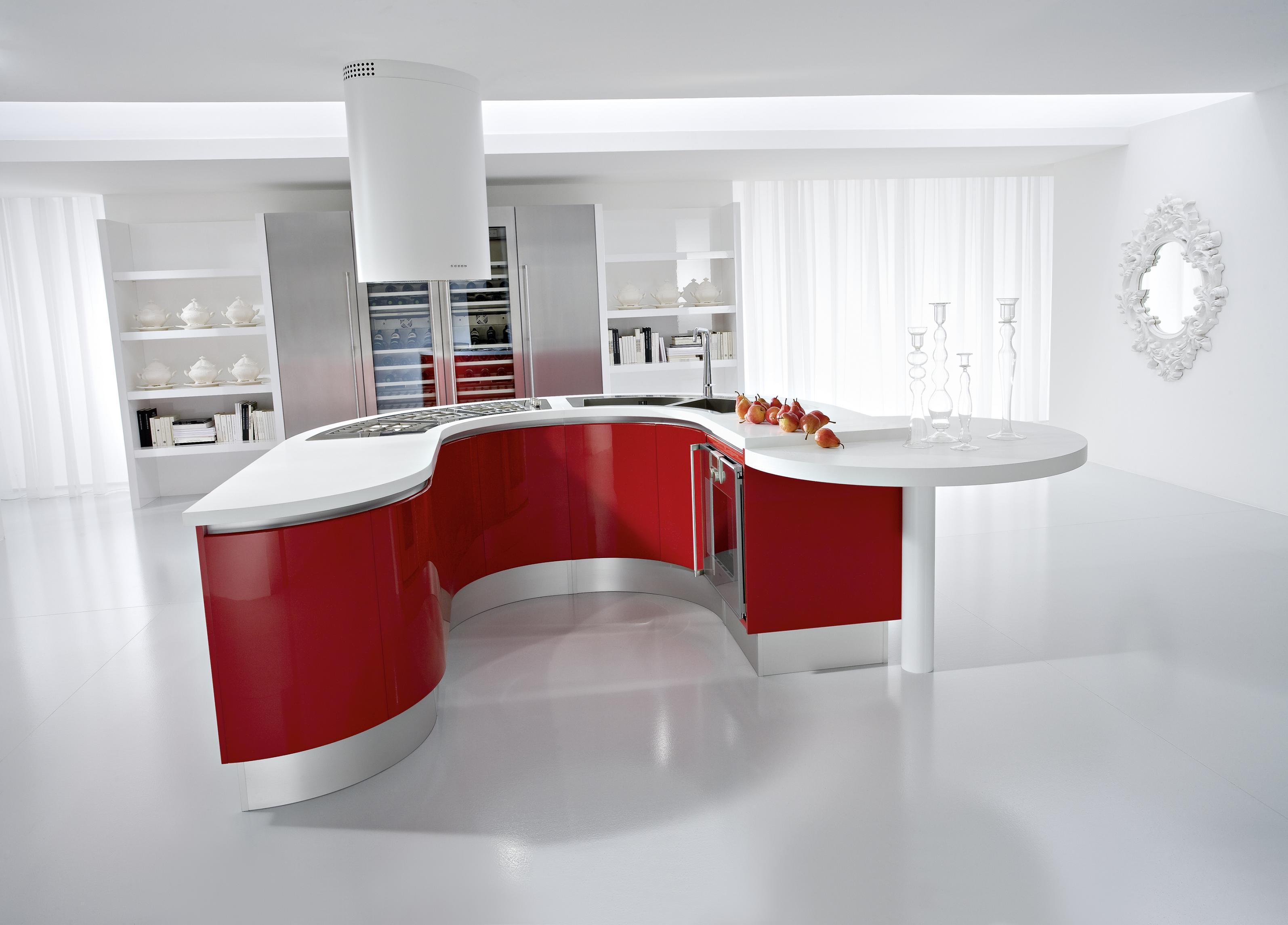 Белая кухня хай-тек с красным ультасовсременном гарнитуром