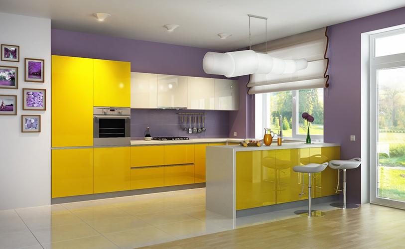 Яркие цвета в хай-тек кухне