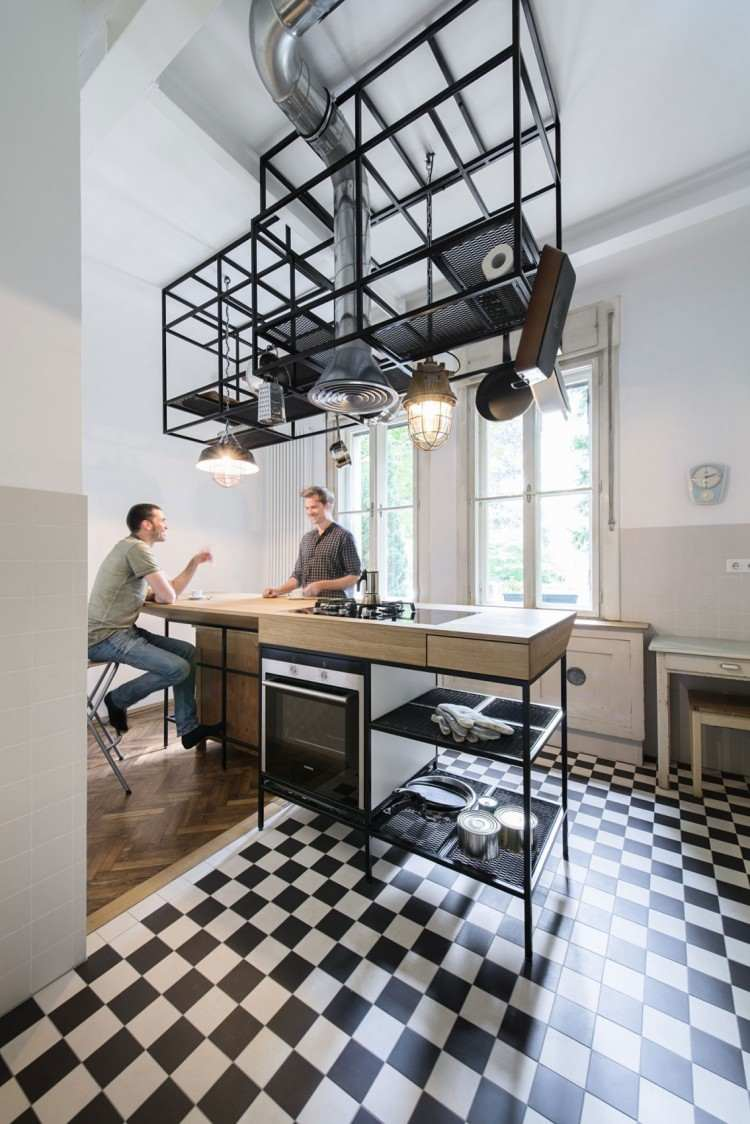 Дизайн кухни с барной стойкой в индустриальном стиле