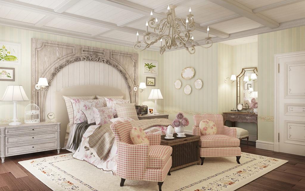 Просторная спальня в стиле прованс