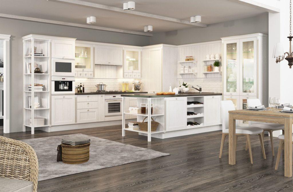 Большая серо-белая кухня в деревенском стиле