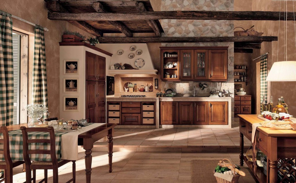 Совмещенные кухня и столовая в деревенском стиле