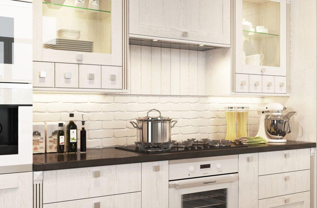 Белая кухня в деревенском стиле