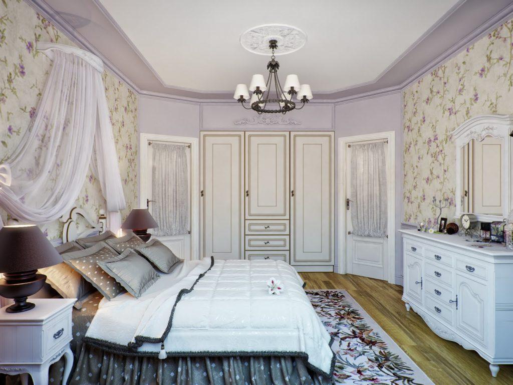 Спальня в стиле прованс с сиреневыми акцентами