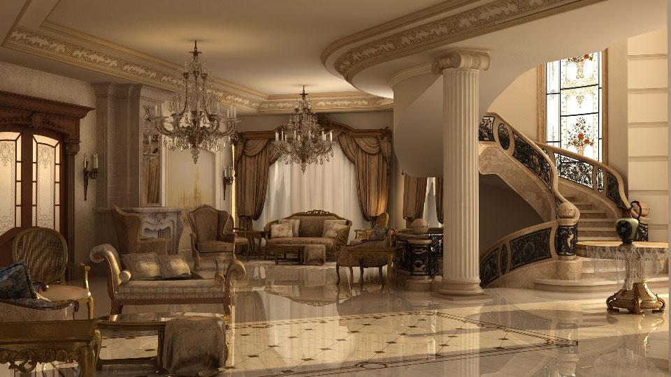 Большая гостиная с лестницей в итальянском стиле
