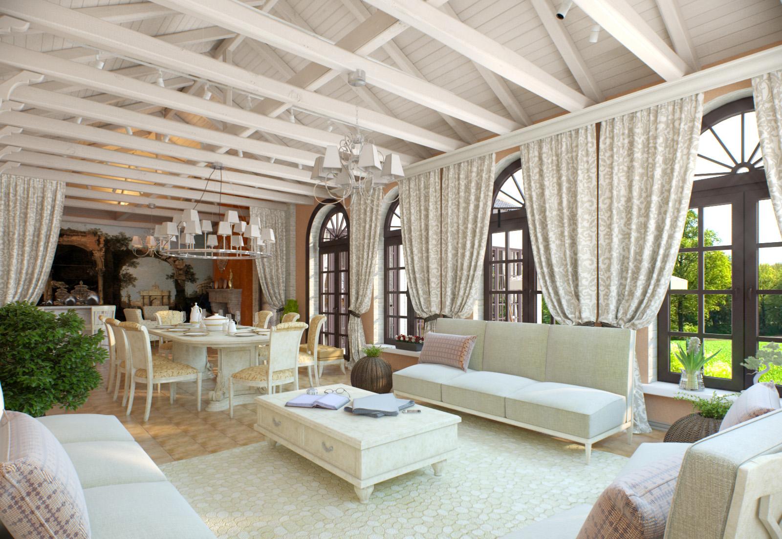 Персиковые стены в столовой-гостиной в итальянском стиле