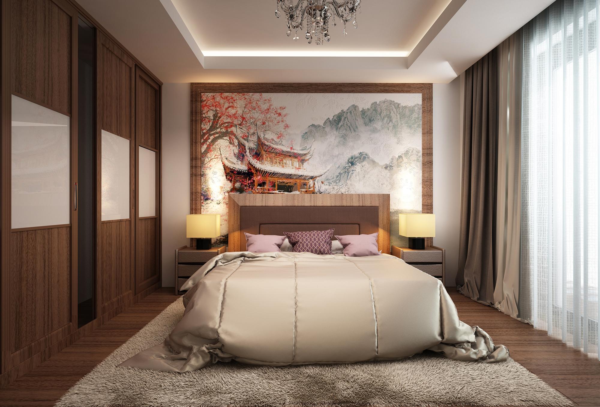 Большое акварельное полотно над кроватью в спальне