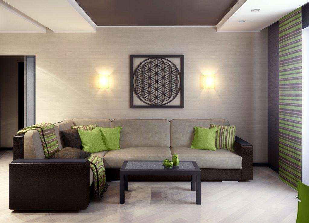 Комбинирование серых и черных обоев в интерьере гостиной