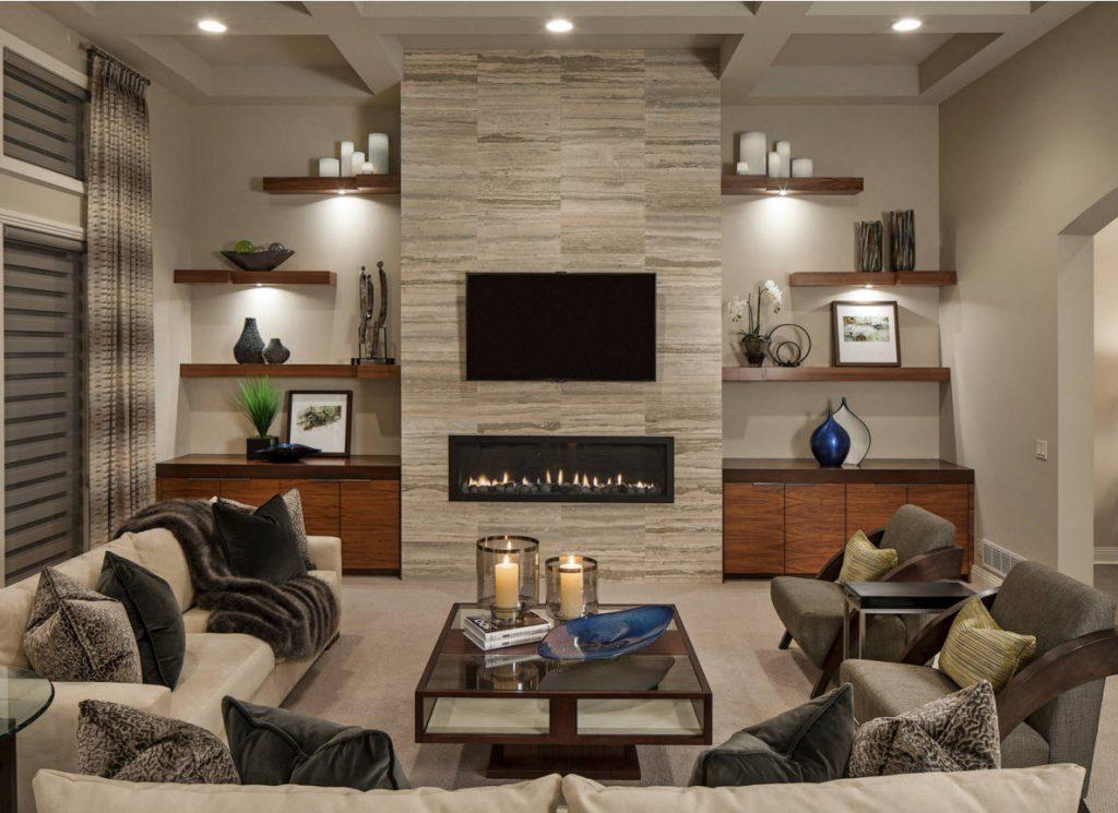 Комбинирование серых обоев в гостиной комнате