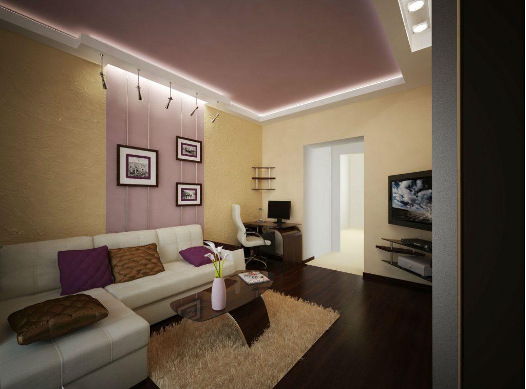 Вертикальное комбинирование желтых и розовых обоев в гостиной