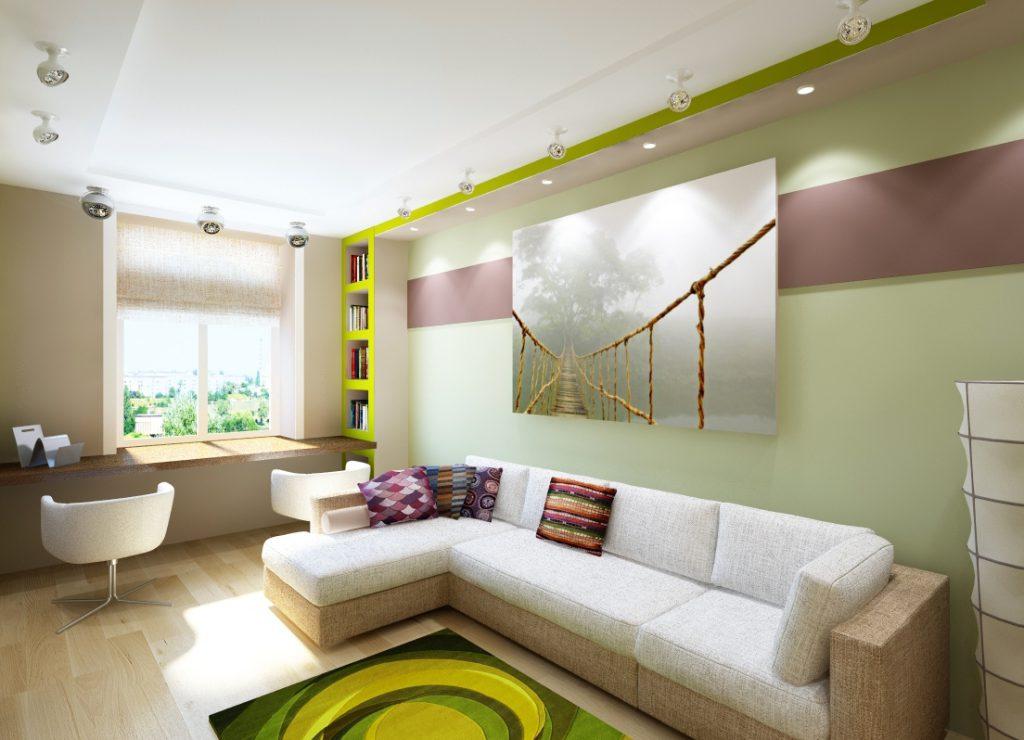 Горизонтальное комбинирование зеленых и коричневых обоев в интерьере гостиной
