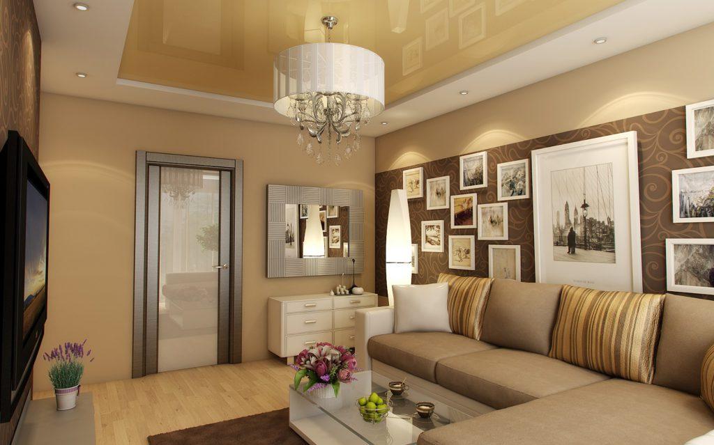 Комбинирование кремовых и коричневых обоев в гостиной