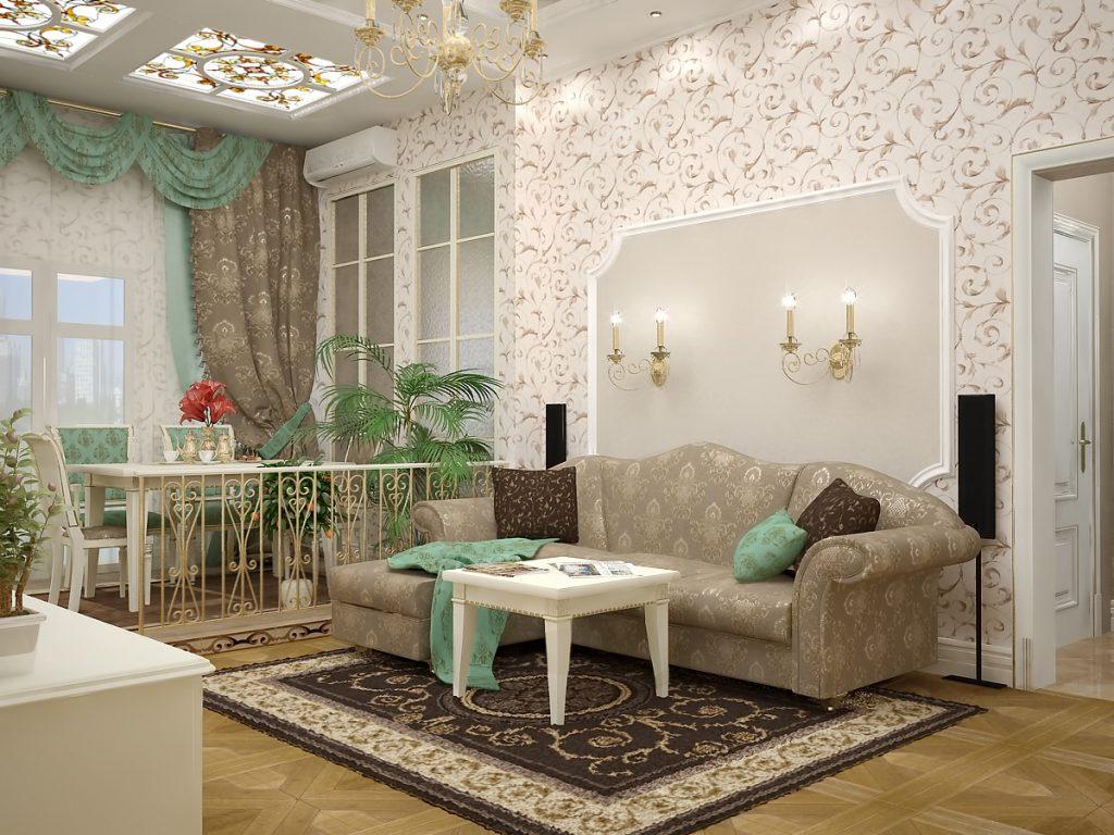 Сочетание однотонных и цветочных обоев  в классическом интерьере гостиной-столовой
