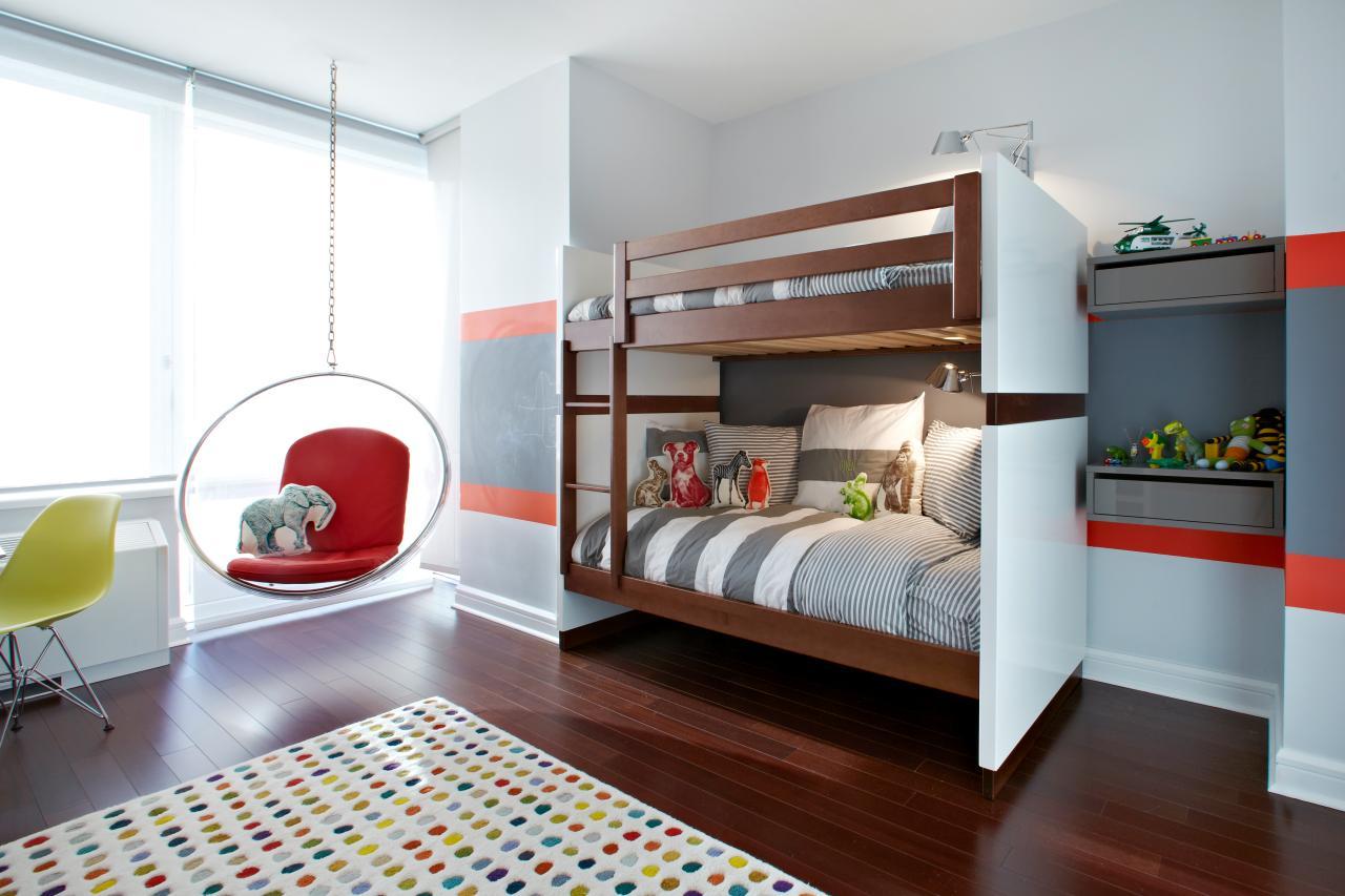 Двухъярусная детская кровать коричневая