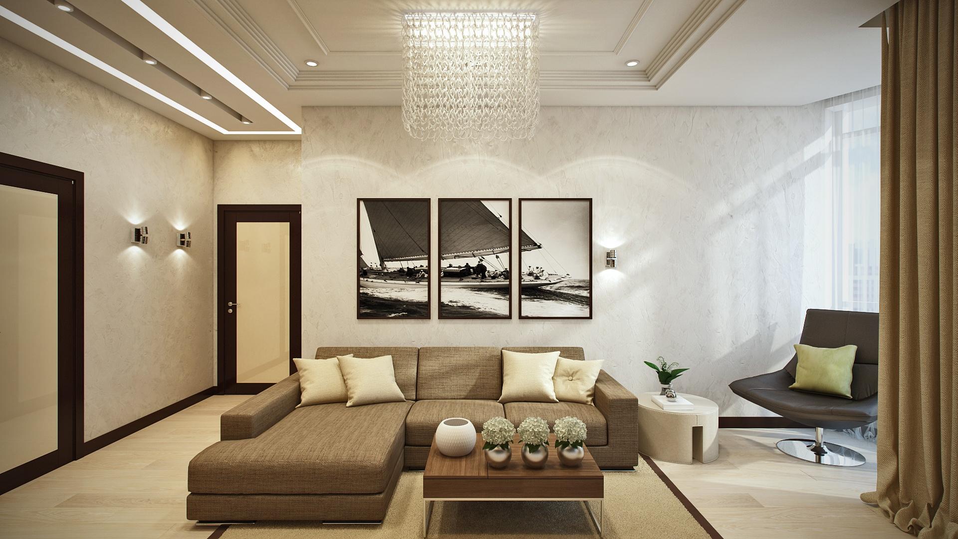 Коричневая мебель и шторы в гостиной