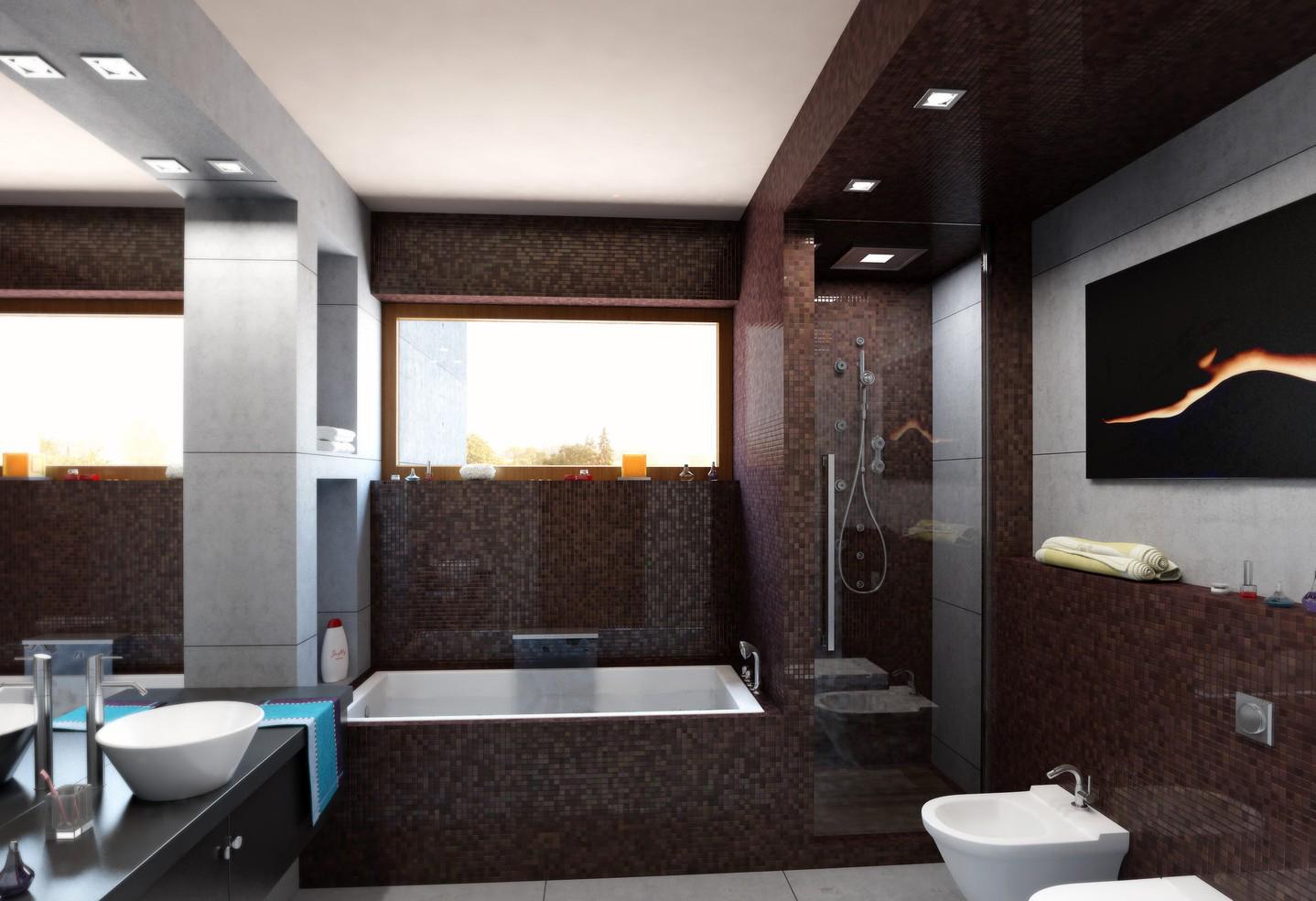 Коричневая мозаика в интерьере ванной комнаты