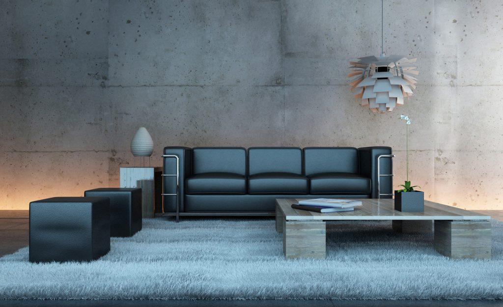 Серый пушистый ковер в гостиной в стиле хай-тек