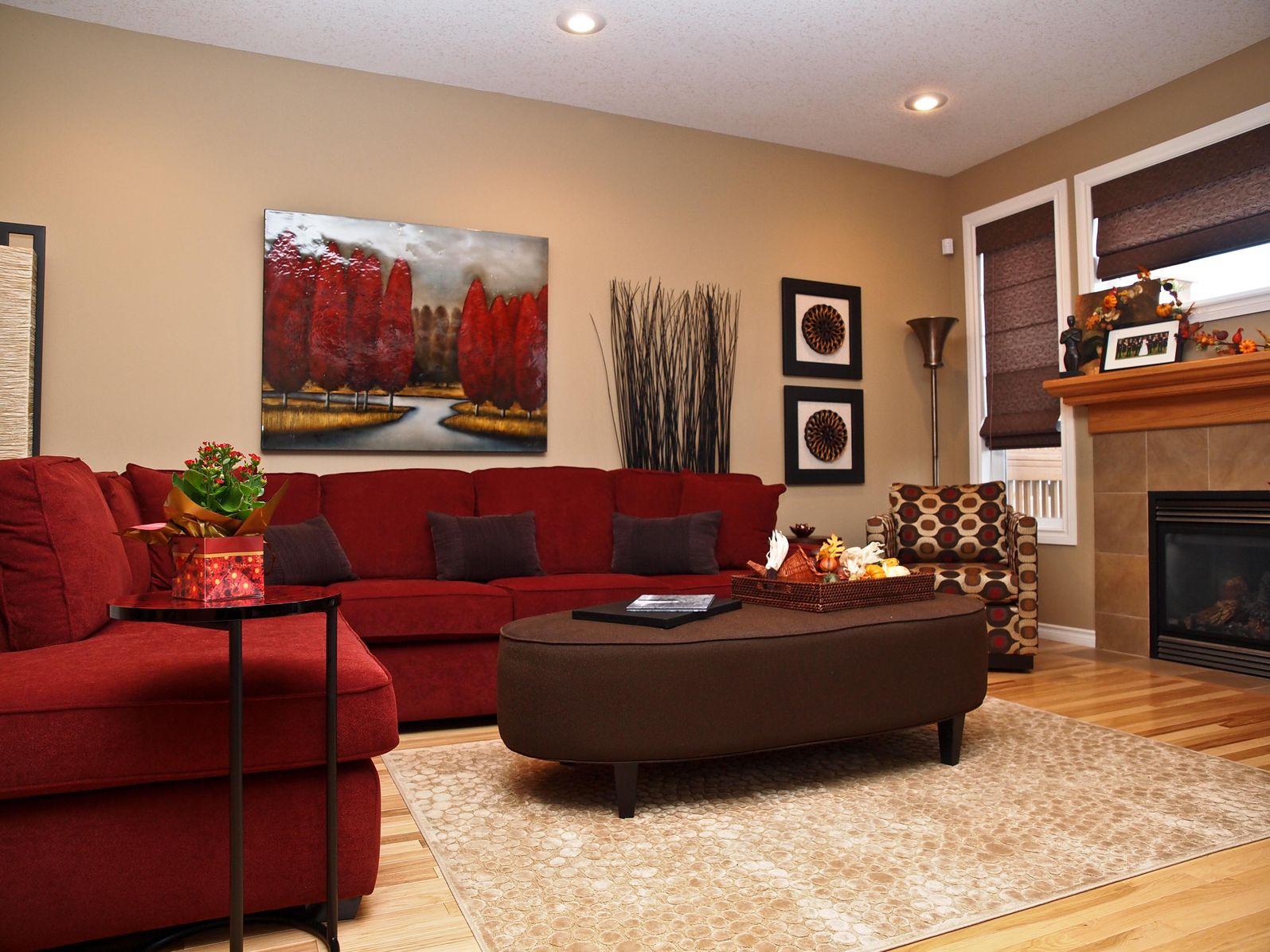 Сочетание коричневого цвета с красным в интерьере