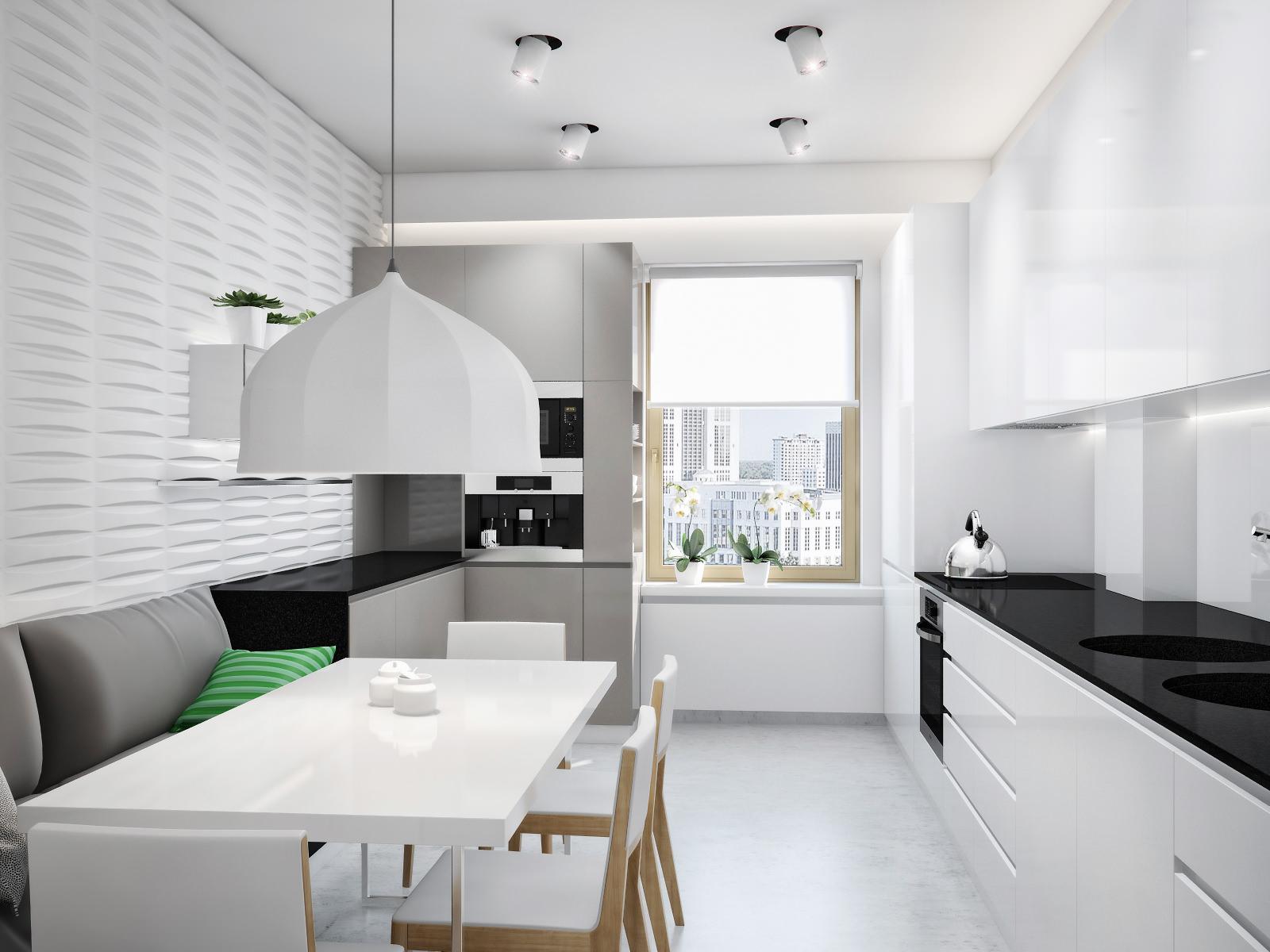 Белая люстра и точечный свет на современной кухне
