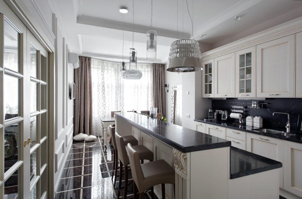Классическая барная стойка для просторной кухни