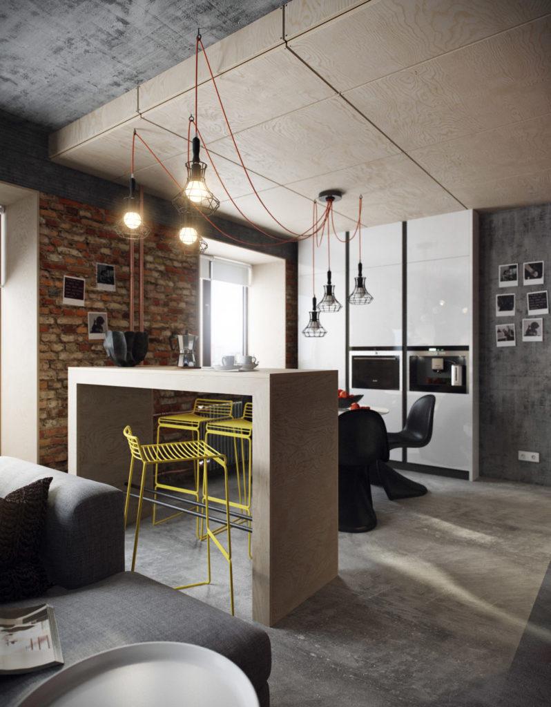 Дизайн зала с барной стойкой